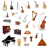 Big colection of vector music instruments