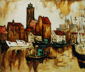 old harbour in the german city wismar, painting by oil on canvas