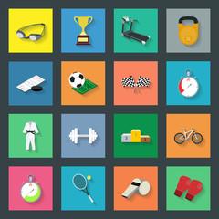 Sport flat icons set