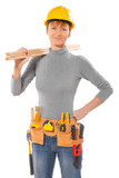 female worker wearing working clothes holding wooden planks