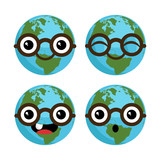 Cartoon Planet Earths with Eyeglasses