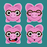 Cartoon Piggy Banks with Eyeglasses