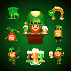 st.Patrick's Day's set with horseshoe
