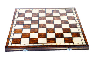 Wooden chessboard isolated on a white background