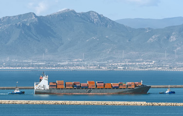 Big cargo ship going to shipyard.