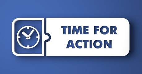 Time For Action on Blue in Flat Design Style.