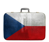Vintage travel bag with flag of Czech Republic