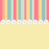 yellow spring background with strips and flowers
