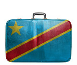 Vintage travel bag with flag of Democratic Republic of Congo poster
