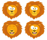Nice cartoon lions heads