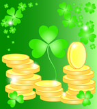 Beautiful vector illustration with clover and golden coins