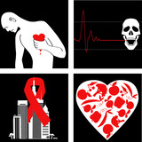 Heart attack prevention vector icon set