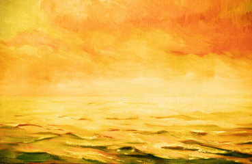 sea landscape,  illustration, painting by oil on a canvas