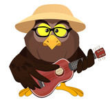 Nice vector cartoon owl with little guitar