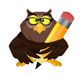 Nice vector cartoon owl with pen