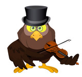 Nice vector cartoon owl with violin