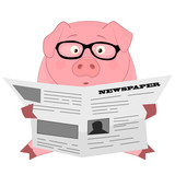 Nice cartoon pig with newspaper