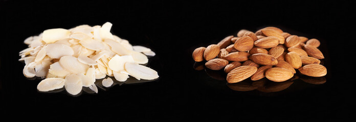 sliced and whole almonds