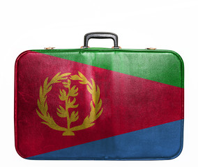 Vintage travel bag with flag of Eritrea