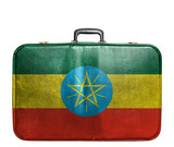 Vintage travel bag with flag of Ethiopia poster