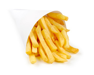 Fried Potato on white background