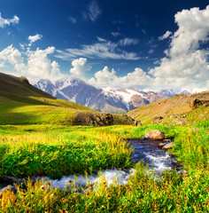 River on mountain meadow. Beautiful natural landscape