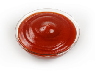 tomato sauce, ketchup on white background