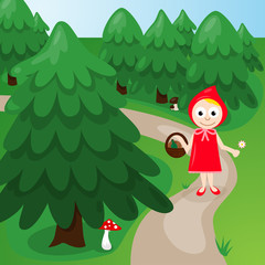 Red Riding Hood in the forest