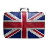 Vintage travel bag with flag of Great Britain