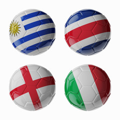 Football WorldCup 2014. Group D. Football/soccer balls.