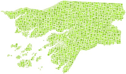 Republic of Guinea-Bissau in a mosaic of green squares