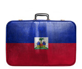 Vintage travel bag with flag of Haiti