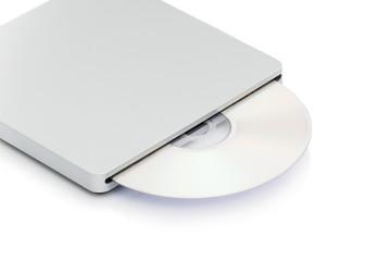 Grey external cd dvd burner reader isolated on white