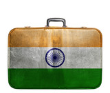Vintage travel bag with flag of India poster