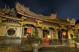 Ornate Longshan Temple at night in Taipei, Taiwan