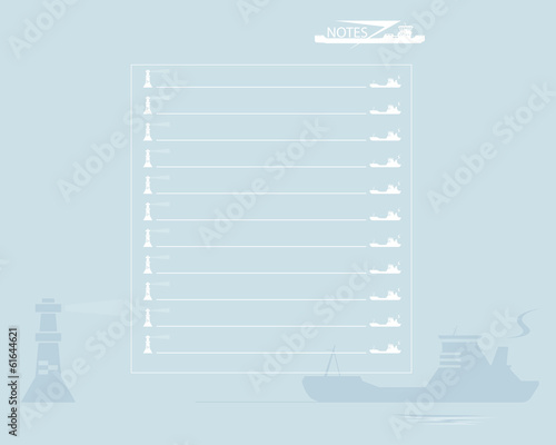 Sheet of notebook. Ship and lighthouse