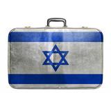 Vintage travel bag with flag of Israel poster