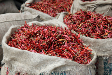Sac de piments rouges