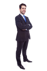 Portrait of a happy young business man isolated on white backgro
