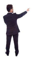 Business man pointing at something, isolated on white backgroun