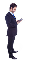 Handsome latin business man with tablet computer, isolated on a