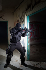 Anti terrorist unit policeman/soldier during night mission