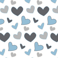 seamless hearts blue tones