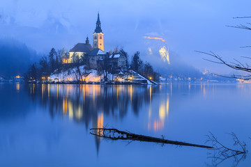 Foggy evening on Bled lake