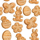 Seamless pattern of Easter cookies