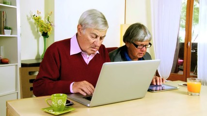 Senior couple working with technology at home