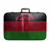 Vintage travel bag with flag of Malawi