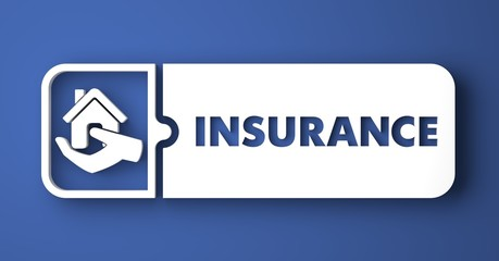 Insurance Concept on Blue in Flat Design Style.