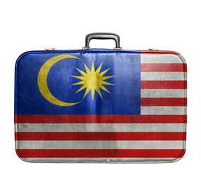 Vintage travel bag with flag of Malaysia