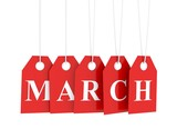 March tag on red hanging labels. March promotions.